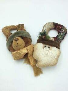 2 Charming Hanging Christmas Decorations Bear and Santa Set 69