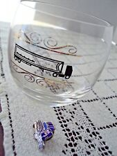 Semi Truck Lot of 2 Items Highball Glass With A Semi Truck Imprint and A Pinback
