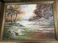 "G Harold Murphy 1951 ""River Landscape Scene"" Oil Painting - SIgned And Framed"