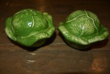 Vintage Ceramic Green Lettuce Cabbage Vegetable Salt & and 'n n Pepper Shakers