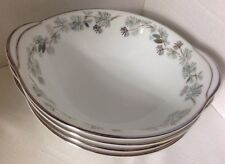 NORITAKE China PINETTA 5689 Lugged Cereal Bowl Green Silver Pine Cones SET Of 4