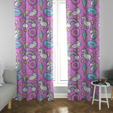 Caticorn Window Curtains colorful Girly Drapery Curtain Panels unicorn nursery