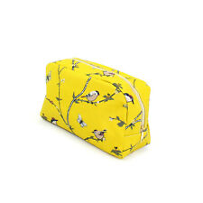 YELLOW BIRD AND BUTTERFLY PRINT LARGE WASH BAG TOILETRY BAG MAKE UP BAG POUCH