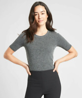 ATHLETA RENEW RIBBED TEE BLACK/GRAY NWOT SIZE L