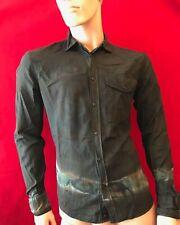 DIESEL Men's Cotton Black Patterned Long Sleeve Slim Fit Shirt Size L