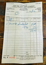 Dec 1954 West Side Auto Parts Company Springfield OH Ohio Paper Receipt Invoice