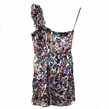 MM Couture by Miss Me 100% Silk Dress Floral One Shoulder Size L