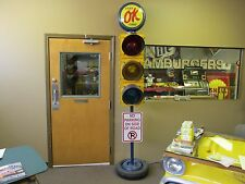 Used OK Cars Traffic Light Sign Pole for Mancave Garage Business Restored LED