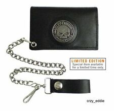 HARLEY DAVIDSON WILLIE G SKULL MEDALLION LEATHER WALLET ** MADE IN USA ** NWT