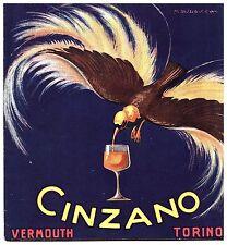 PUBBLICITA' 1916 CINZANO M. DUDOVICH VERMOUTH TORINO UCCELLO PARADISO NETTARE