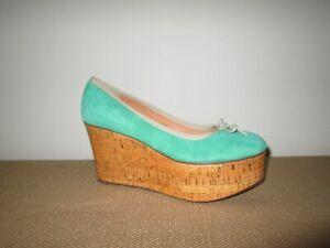 LEIFSDOTTIR Anthropologie Jenni Green Suede Platform Ballet Shoes Size 39
