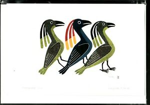 "PROMENADE ,BIRDS - 6"" x 9"" - art card by Kenojuak Ashevak- Free Shipping POD1009"