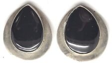 Vintage Sterling Silver Pear Black Onyx Heavy Chunky Statement Clip On Earrings
