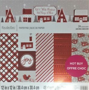 """Red & White Christmas"" 12"" x 12"" Scrapbook, Cardstock, Art, Craft, Paper Pad"