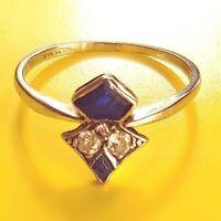 Esclusivo Art Deco Anello Vero 585 Oro Bianco Originale Zaffiri + Vero Diamanti