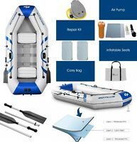 Blow Up Fishing Boat Inflatable Rowing Boats 2 3 Person Rafting With Pump Oars