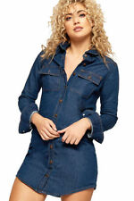 Denim Collar Long Sleeve Dresses for Women