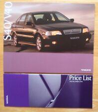 VOLVO S40 & V40 1996-97 UK Mkt prestige sales brochure + Price List