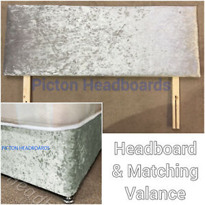SOLID CRUSHED VELVET HEADBOARD WITH MATCHING CRUSHED VELVET DIVAN BED BASE WRAP