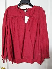 NWT Women's LUCKY BRAND Red V-Neck Burnout Tie Sleeve Blouse Size XL - MSRP $69