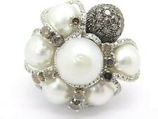 Large South Sea 13mm. Pearls & 2.75ct Diamonds 18Carat White Gold Ring Size M