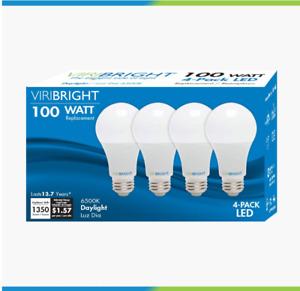 4-Pack 13W LED Light Bulbs Equivalent Daylight (6500K) A19, Medium 1350 Lumens