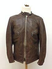 Vintage Schott Brown Leather Cafe Racer Motorcycle Jacket Men's 44