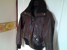 BROWN CARDI COLLAR/CUFF STYLE  LEATHER JACKET BY NEW LOOK   SIZE 10
