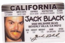 Jack Black of School of Rock fake Id i.d. card Drivers License