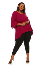 Womens Plus Size 1X NEW Sharkbite Bell Sleeves Asym Top WINE Red WearOrGoBare