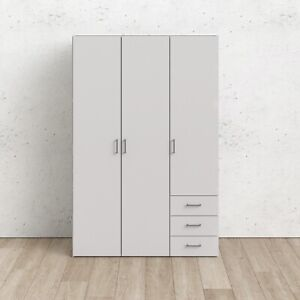 Space Wardrobe with 3 doors + 3 drawers White 1750