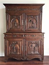 Antique French Sideboard Buffet Oak Breton Heavily Carved c1800's - TM159