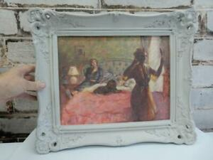 really old PAINTING oil memories small wall signed