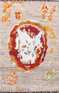 Vegetable Dye Abstract Super Kazak Oriental Area Rug Handmade Wool 3'x4' Carpet
