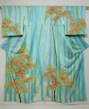 4310N06z960 Japanese Kimono Silk TSUKESAGE Blue-Green Bamboo