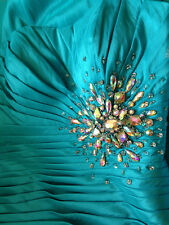 NWT Night Moves Prom Collection Turquoise Mermaid Dress Pleated Gown 6412 4 $358
