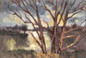 """Anatoliy Chudinovskikh Expressionist Gouache Papier """"Fluss"""" 58 x 40 cm"""