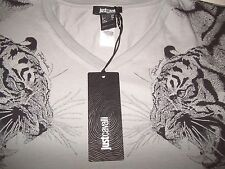 Just Cavalli V Neck Grey Men's T-shirt with TIGER pattern Size - UK38