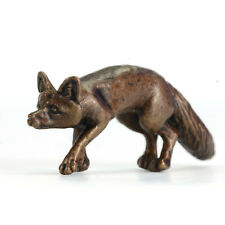 Walking fox, miniature hot cast bronze wildlife sculpture, bonsai figurine