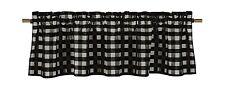 lovemyfabric Gingham Checkered Plaid Design Kitchen Curtain Valance-Black