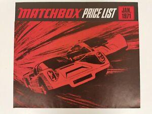 Matchbox Diecast 1971 Pricelist Mint Condition