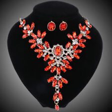 Red Crystal Bridal Jewelry Set For Wedding Party Brides Necklace Earring