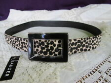 luxe JAEGER leopard hair leather BELT big black enamel buckle Italy made L bnwt