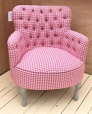 SALE PRICE - NEW! Voyage Maison Dora Betsy Raspberry / Checked Buttoned Armchair