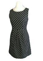 Oliver Bonas Blue Yellow Geometric Diagonal Sleeveless Fit & Flare Dress Size 10