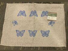 Bath Bathroom Mat Rug 98% Cotton 2% Otr Fabric 15inx21in Tan w/Blue Butterflies