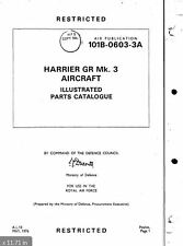 1969 -1970's Hawker Harrier Jump Jet GR3 Parts Manual Archive RARE RAF Historic