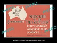 OLD LARGE HISTORIC PHOTO OF WWI AUSTRALIAN MILITARY POSTER, THE DIGGERS LOAN 1