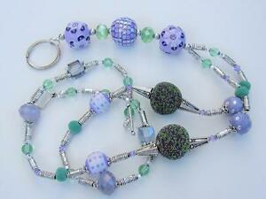 Handmade Lavender and Pale Green beaded ID Lanyard Eyeglass Chain ONE OF A KIND