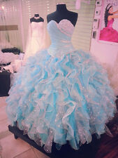 2017 Baby Blue Quinceanera Dresses Formal Prom Party Ball Gown Wedding Dresses